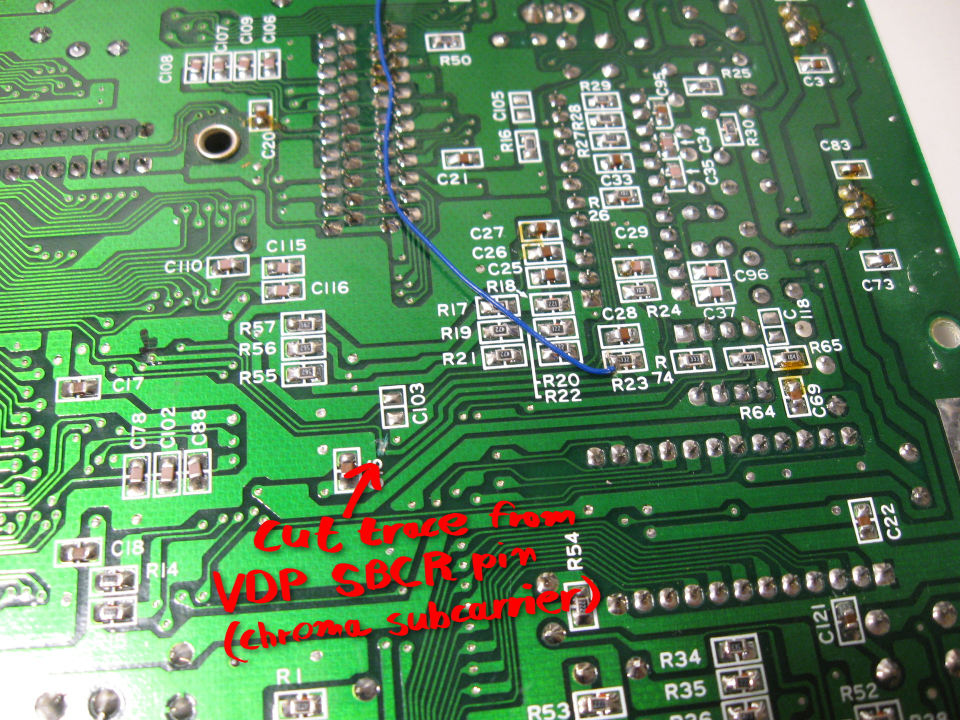 Sega Mega Drive Model 1 Pal Ntsc Switching Vdp Wiring Diagram For The Power And Ground Connections I Used A Convenient Nearby Bypass Capacitor Thought About Sticking My Board On Top Of With Double Sided