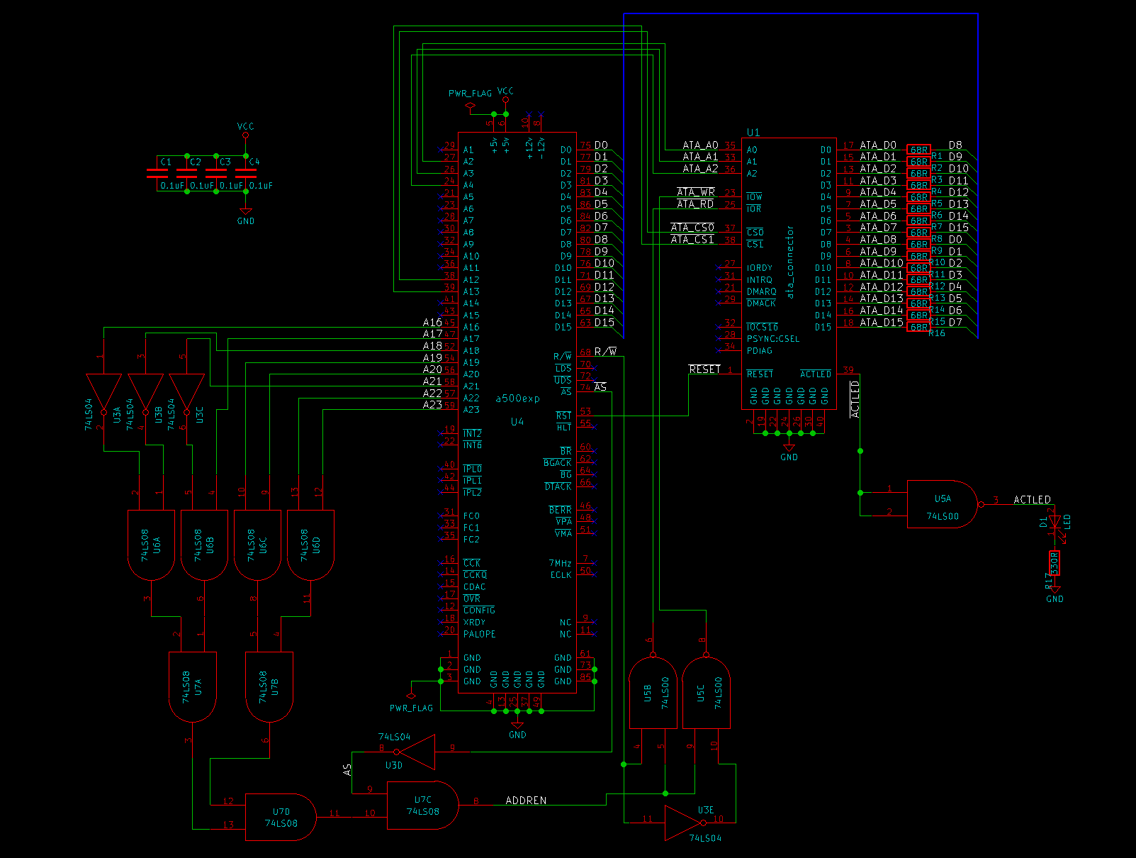 Hard Drive Circuit Board Schematic Diagram Trusted Wiring Parts Pcb Logic Printed 100617465 For Amiga 500 Ata Disk Interface Battery