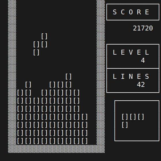 Termtris - a tetris game for ANSI/VT220 terminals